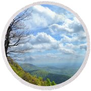 Blue Ridge Parkway Views - Rock Castle Gorge Round Beach Towel by Kerri Farley