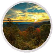 Blue Ridge Sunsets Round Beach Towel