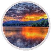 Blue Ridges Lake Junaluska Sunset Great Smoky Mountains Art Round Beach Towel