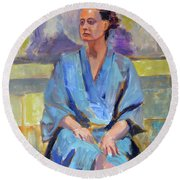 Blue Robe Round Beach Towel