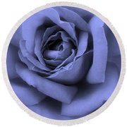 Blue Rose Abstract Round Beach Towel