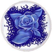 Blue Rose Round Beach Towel