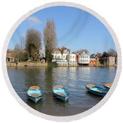 Blue Rowing Boats On The Thames At Hampton Court London Round Beach Towel
