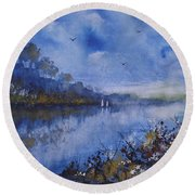 Blue Sail, Watercolor Painting Round Beach Towel