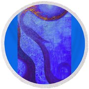 Blue Seed Round Beach Towel by Ishwar Malleret