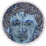 Blue Self Portrait Round Beach Towel