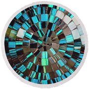 Blue Shiny Stones Gems In A Circular Pattern Round Beach Towel