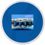 Blue Shrimp Boats Round Beach Towel