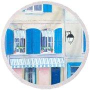 Blue Shutters Arles France Round Beach Towel