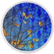 Blue Skies And Last Leaves Of Fall Round Beach Towel