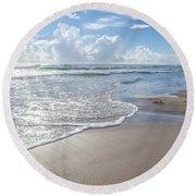 Blue Skies South Padre Island Texas Round Beach Towel