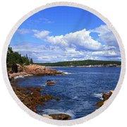 Blue Skies In Maine Round Beach Towel