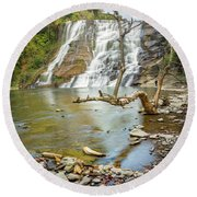 Blue Skies Over Ithaca Falls Round Beach Towel