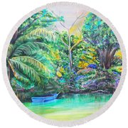 Blue Skiff Round Beach Towel