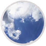 Blue Sky And Cloud Round Beach Towel