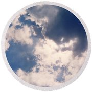 Blue Sky And Clouds Round Beach Towel
