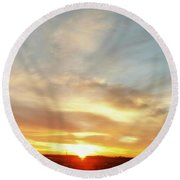Blue Sky And Sunrise Round Beach Towel