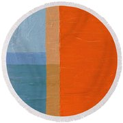 Blue Sky Around The Corner Round Beach Towel