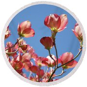Blue Sky Art Prints Pink Dogwood Flowers 16 Dogwood Tree Art Prints Baslee Troutman Round Beach Towel