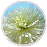Blue Sky Art White Dahlia Flower Floral Prints Baslee Troutman Round Beach Towel