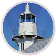 Blue Sky At The Lighthouse Round Beach Towel