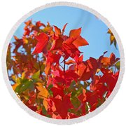 Blue Sky Autumn Art Prints Colorful Fall Tree Leaves Baslee Round Beach Towel