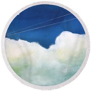 Blue Sky Birds Round Beach Towel