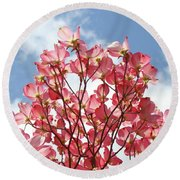 Blue Sky Clouds Landscape 7 Pink Dogwood Tree Baslee Troutman Round Beach Towel