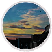 Blue Sky Colorful Sunset Round Beach Towel