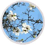 Blue Sky Floral Art White Magnolia Tree Round Beach Towel