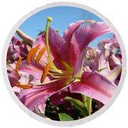 Blue Sky Floral Landscape Pink Lilies Art Prints Canvas Baslee Troutman Round Beach Towel