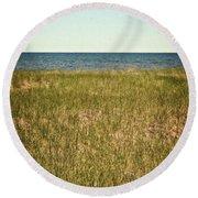 Blue Sky Green Grass Round Beach Towel