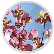Blue Sky Landscape White Clouds Art Prints Pink Dogwood Flowers Baslee Troutman Round Beach Towel