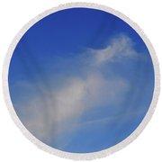 Blue Sky Little Cloud  Round Beach Towel