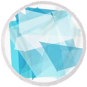 Blue Sky Polygon Pattern Round Beach Towel