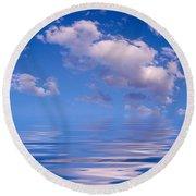 Blue Sky Reflections Round Beach Towel
