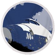 Blue Sky Shuttle Round Beach Towel
