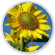 Blue Sky Sunflower Day Round Beach Towel
