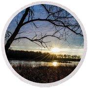 Blue Sky Sunrise On The Marsh Round Beach Towel