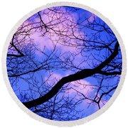 Blue Sky Through The Trees Round Beach Towel