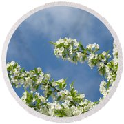Blue Sky White Clouds Landscape Art White Tree Blossoms Spring Round Beach Towel
