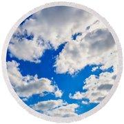 Blue Sky With Cloud Closeup 2 Round Beach Towel