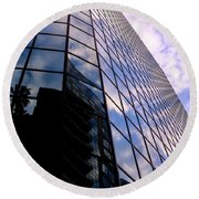 Blue Skyscrapper With A Blue Sky In New Orleans Louisiana Round Beach Towel