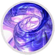 Blue Smoke Abstract Round Beach Towel