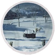 Blue Snow, The Battery Round Beach Towel