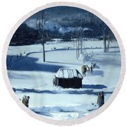 Blue Snow. The Battery Round Beach Towel