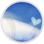 Blue Soft Focus Background Round Beach Towel