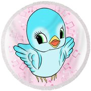 Blue Song Bird Round Beach Towel