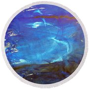 Blue Space Water Round Beach Towel