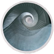Blue Spiral Stairs Round Beach Towel